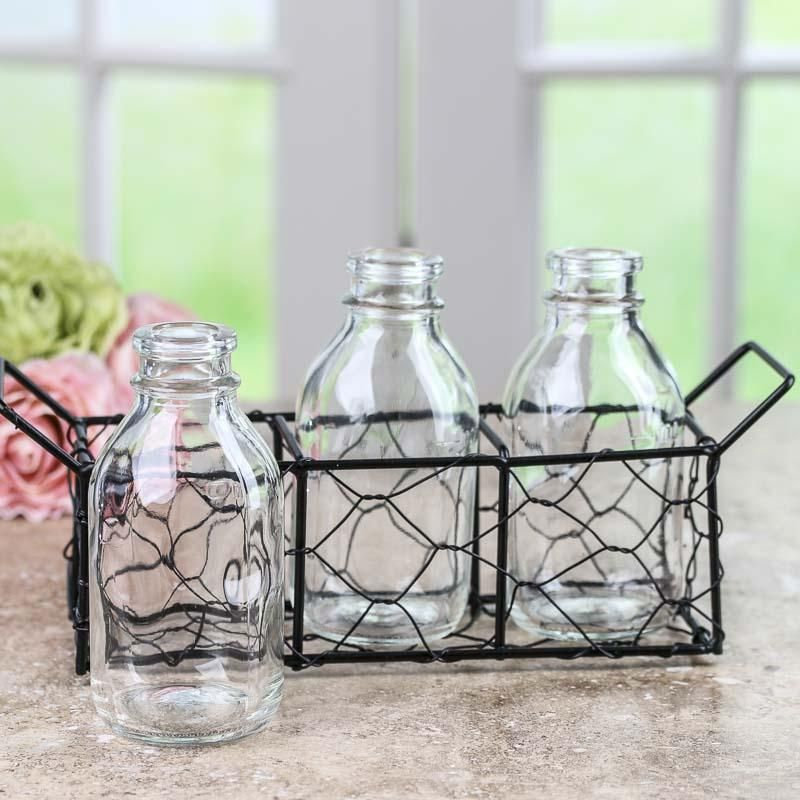Vintage-Inspired Glass Bottle and Basket Set | I guess I need a ...