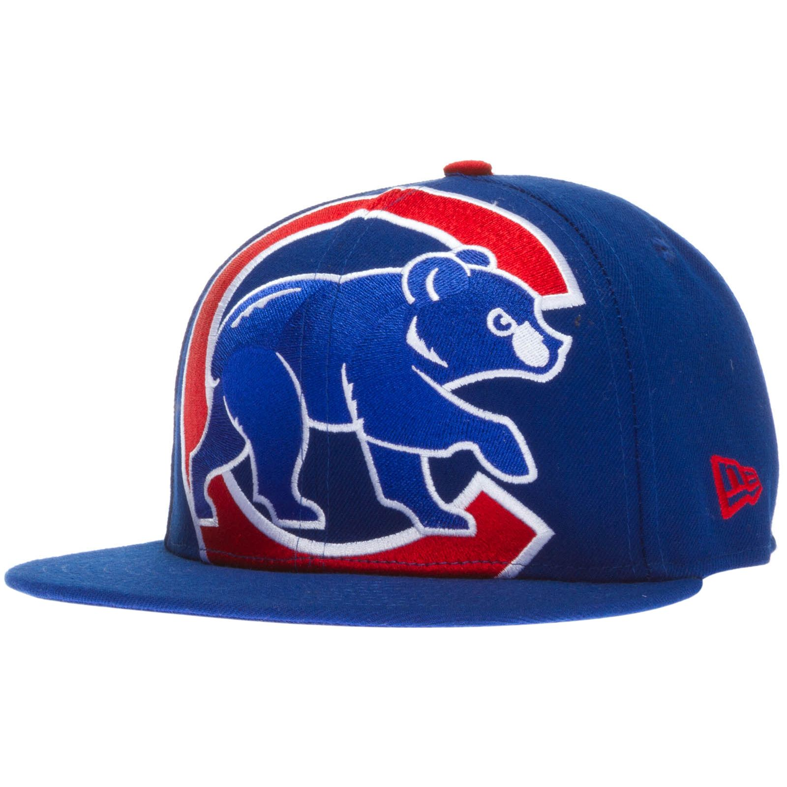 259d347f7 Chicago Cubs Royal Blue Extra Large Crawl Bear Logo Fitted Flat Bill ...