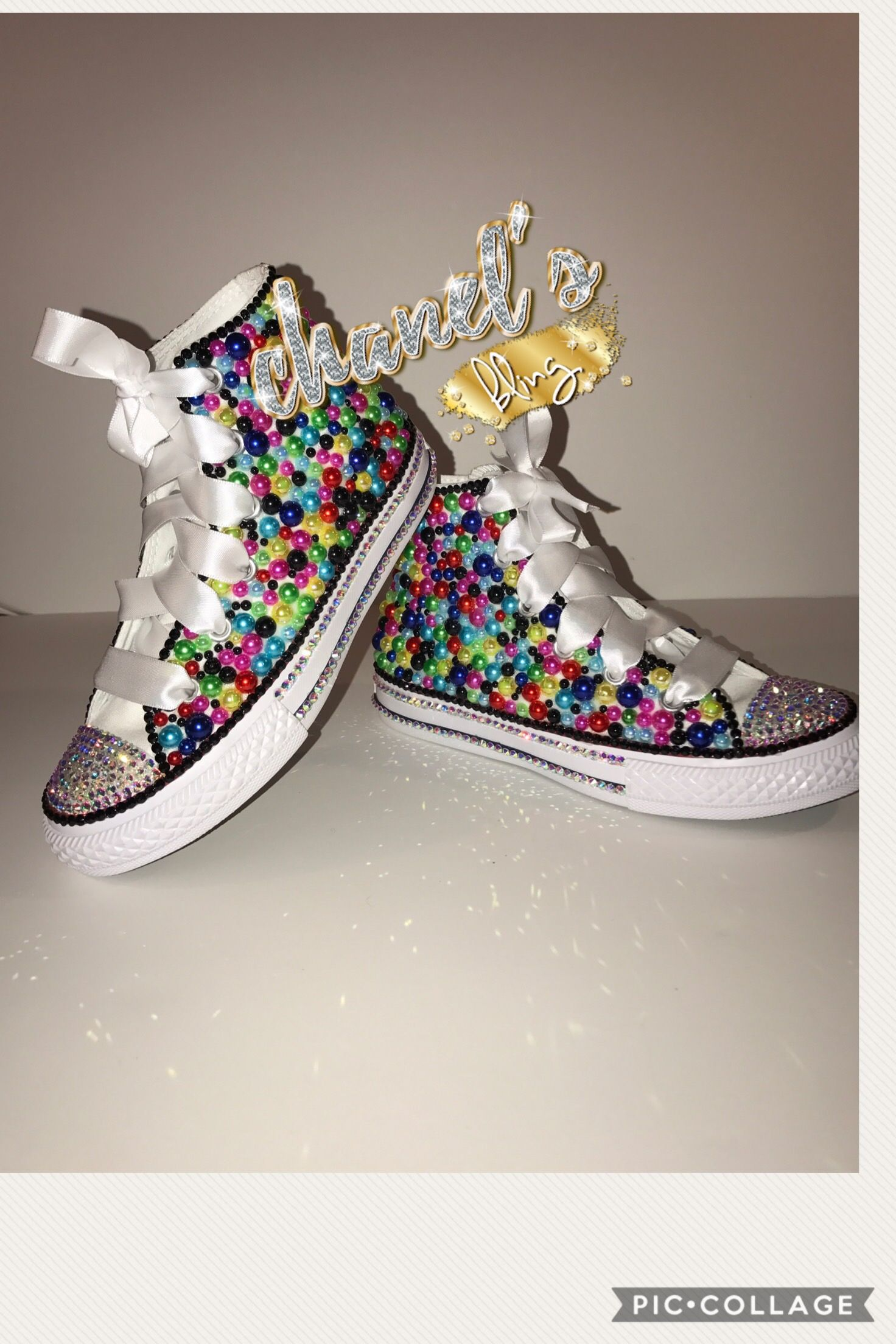 b0e17c310306 Custom bling converse all star chuck taylor sneakers embellished with high  quality rhinestones and pearls. Perfect for weddings shoes