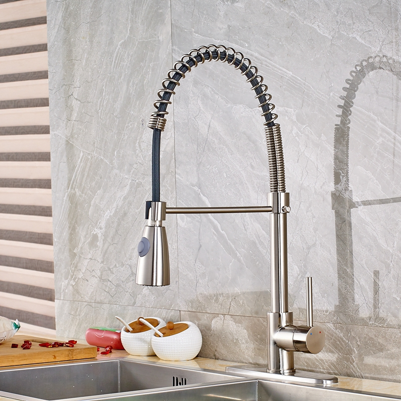 66.60$  Watch now - http://ali9ha.worldwells.pw/go.php?t=32717261610 - Modern Nickle Brushed Finish Spring Kitchen Bathroom Faucet Single Hole Handle  66.60$