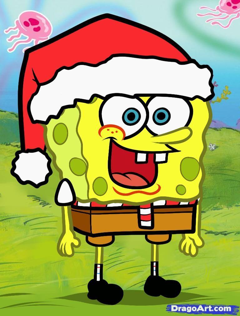 Spongebob Christmas.How To Draw Christmas Spongebob Christmas Spongebob
