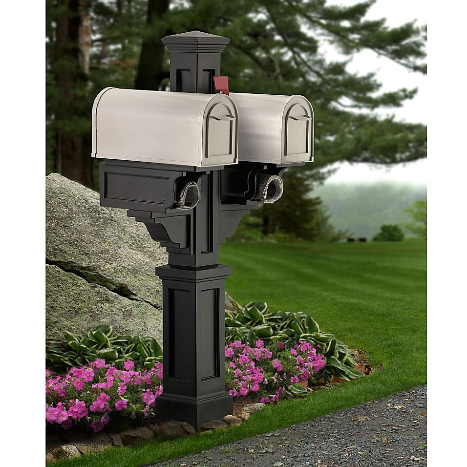 Mayne Rockport Double Mail Post Bed Bath Beyond In 2021 Double Mailbox Post Double Mail Post Mailbox Post
