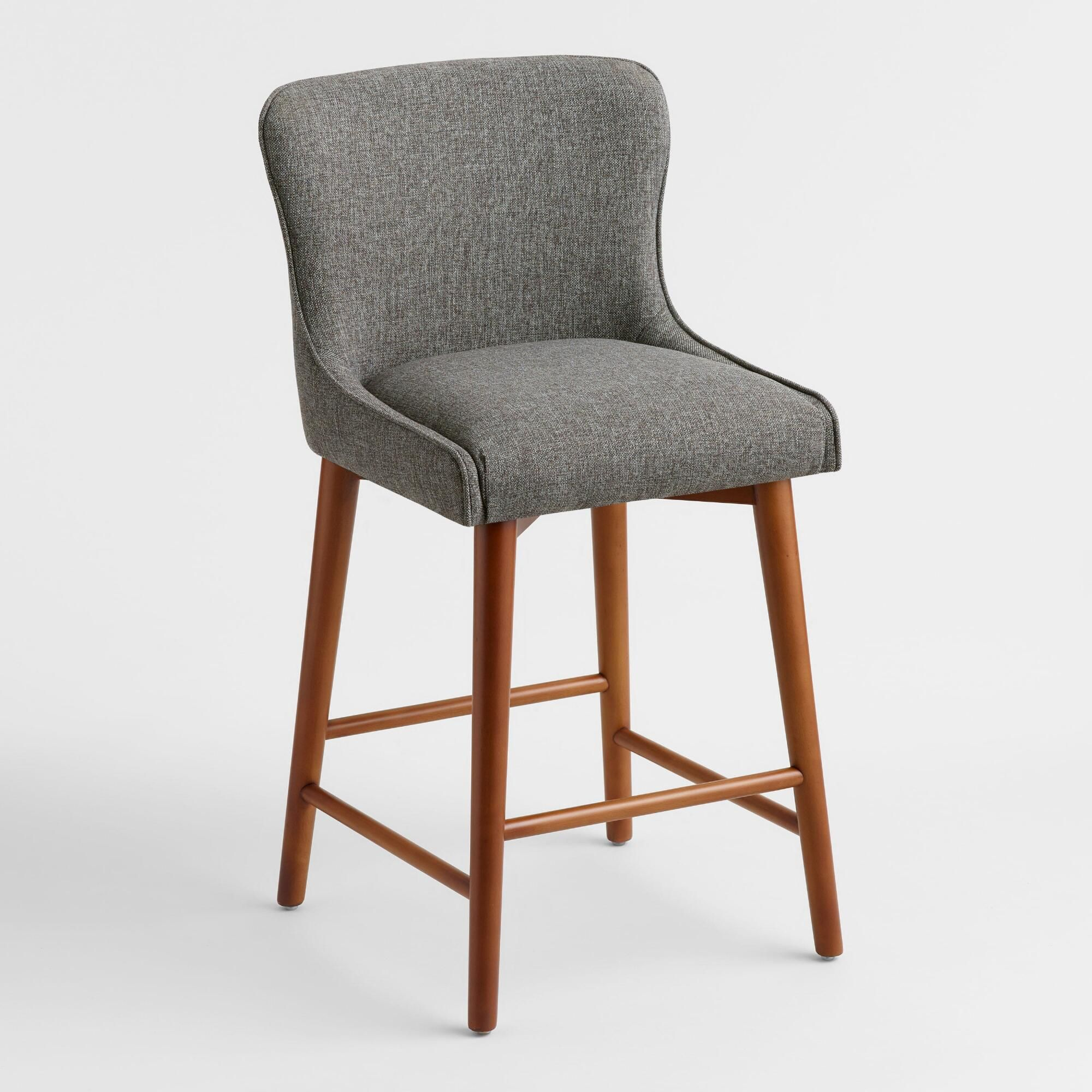 Gray Zarah Wingback Upholstered Counter Stool By World