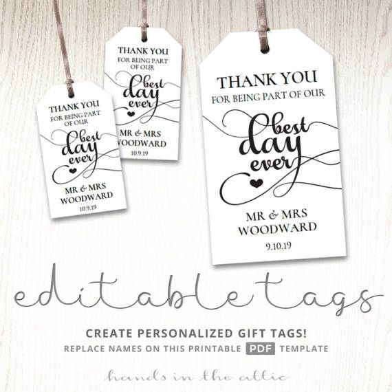 Gift Tags For Wedding Day Thank You Best Day Ever Wedding Favor - Gift bag tags template