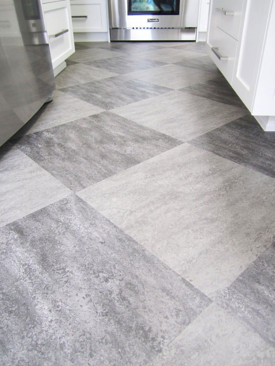 grey floor tiles - white cabinets and slate appliances | new home