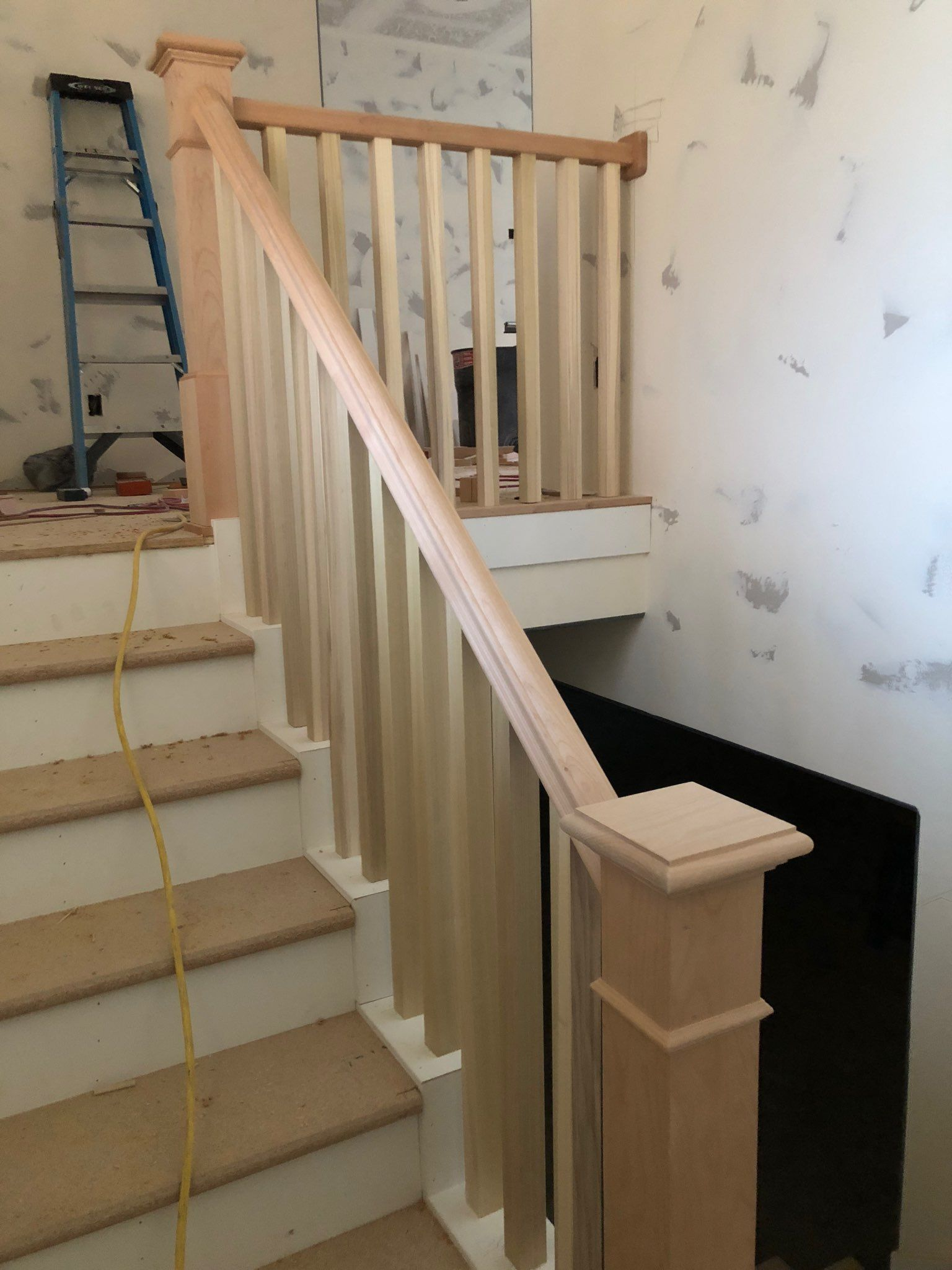 Stair Tread End Caps   Carpeted Stairs With Wood End Caps   Stair Railing   Waterfall   Diy   Capped   Step