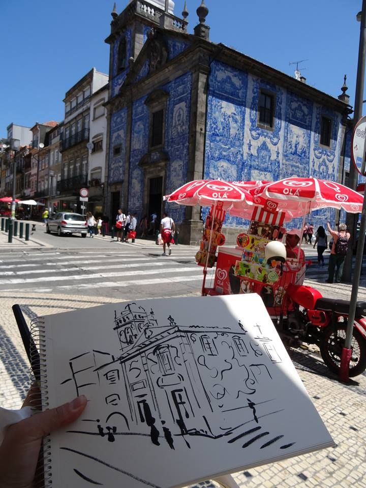 Sketching in @Porto. Church of St Catherine. #zoiaskoropadenko #artistinporto #contemporaryart