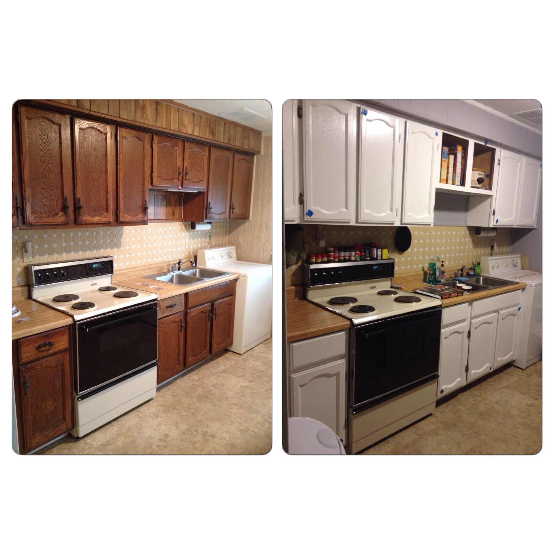 before and after using paint after not completely done refinishing cabinets refinishing on kitchen cabinets painted before and after id=68194