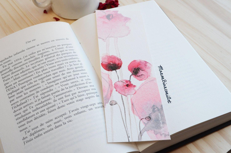 marque pages coquelicot po tique naturel illustration aquarelle id e cadeau no l de la. Black Bedroom Furniture Sets. Home Design Ideas