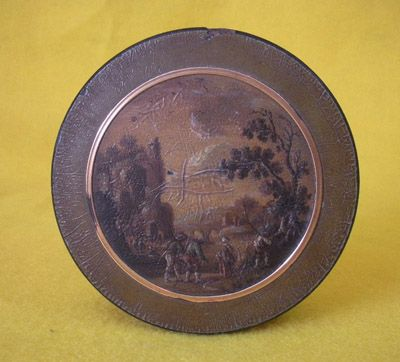 #MWG1 A large French vernis martin snuffbox lined in tortoise, the lid with a pastoral scene. Late 18thc.