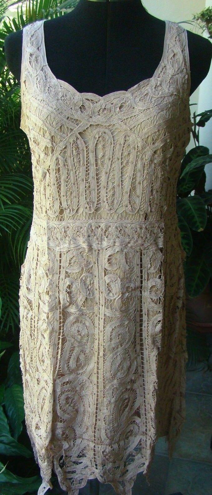 Beige tan lace crotchet dress applique size l wedding vintage looking gatsby