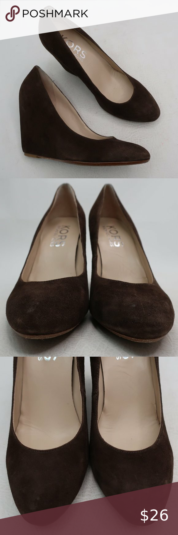 Michael Kors Brown Leather Wedges Size 8 Medium Thank you for stopping in! These are in excellent preowned condition with minor wear! Please see all pictures as they are the best descriptors.  • Brand: Michael Kors • Style: Wedges  • Color: Brown • Material: Leather • Size: 8 M  • Heel Height: 4