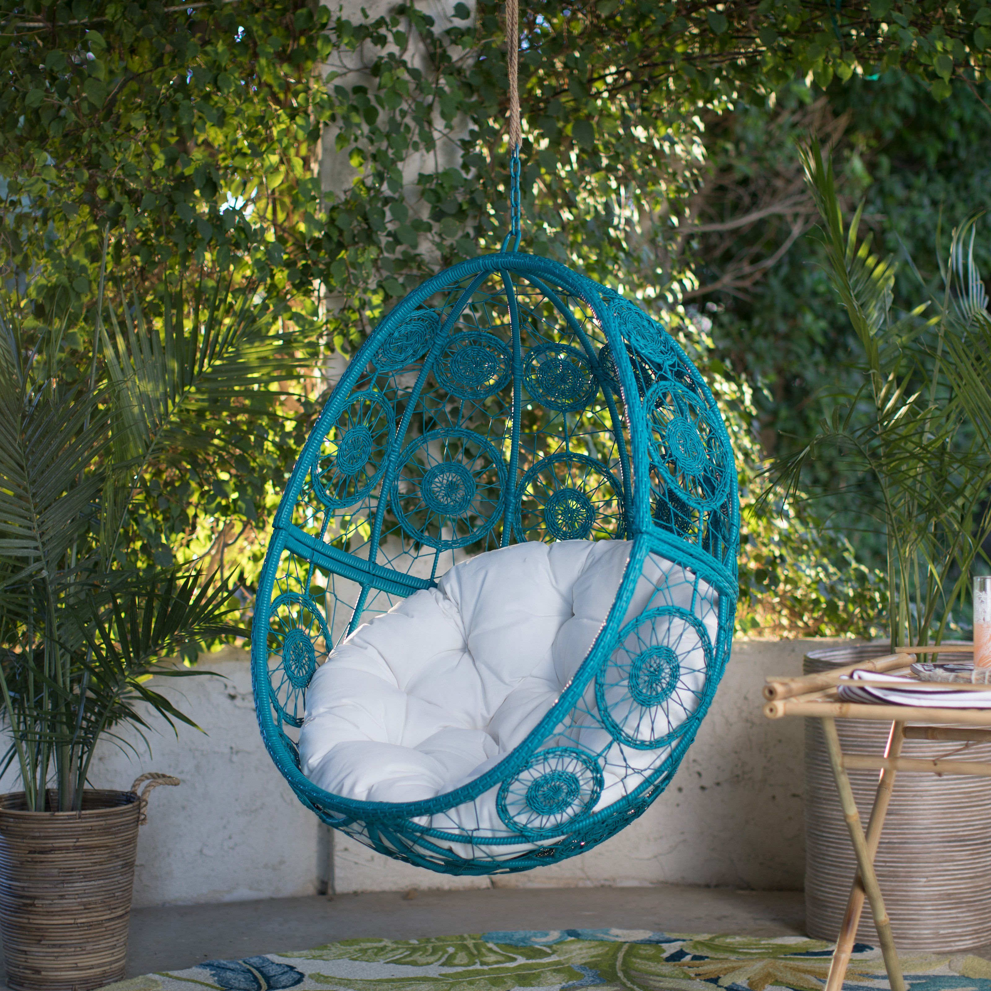 Island Bay Bloom Resin Wicker Hanging Egg Chair with