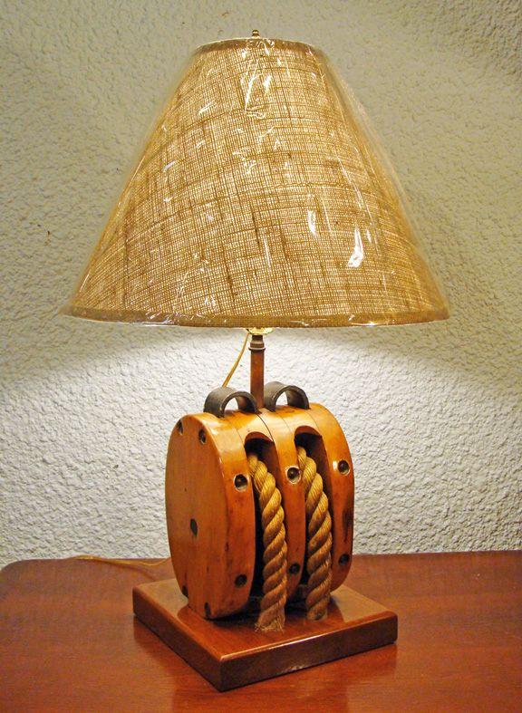 Wood Block Amp Tackle Table Lamp Nautical Lighting
