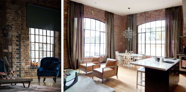 Industrial style window treatments brick wall - Living room window curtain styles ...