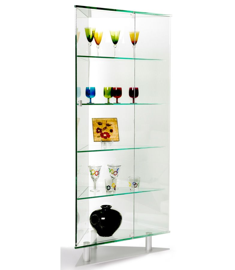 Chintaly Imports All Glass Triangle Curio Ci 6650 Cur At Homelement Com Corner Curio Chintaly Glass Curio Cabinets