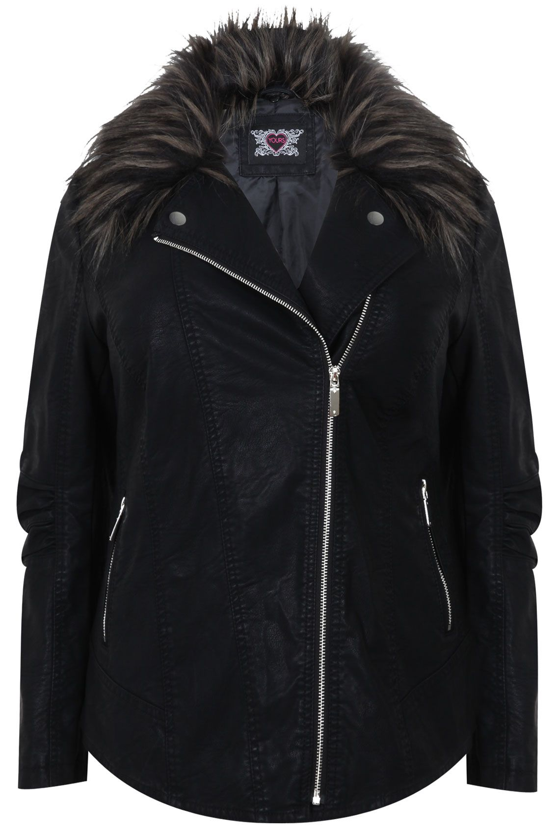 Black Faux Leather & Fur Jacket Jackets, Faux leather