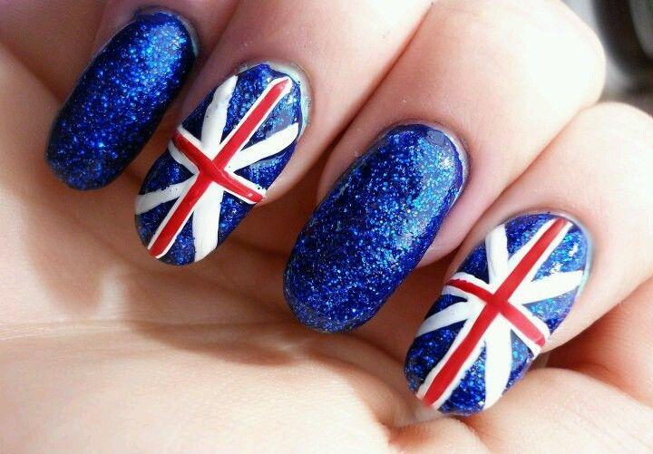 England flag nail art | Nails | Pinterest | Flag nails