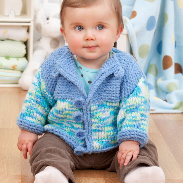 Red Heart Two-Tone Baby Cardi | Yarnspirations | Baby ...