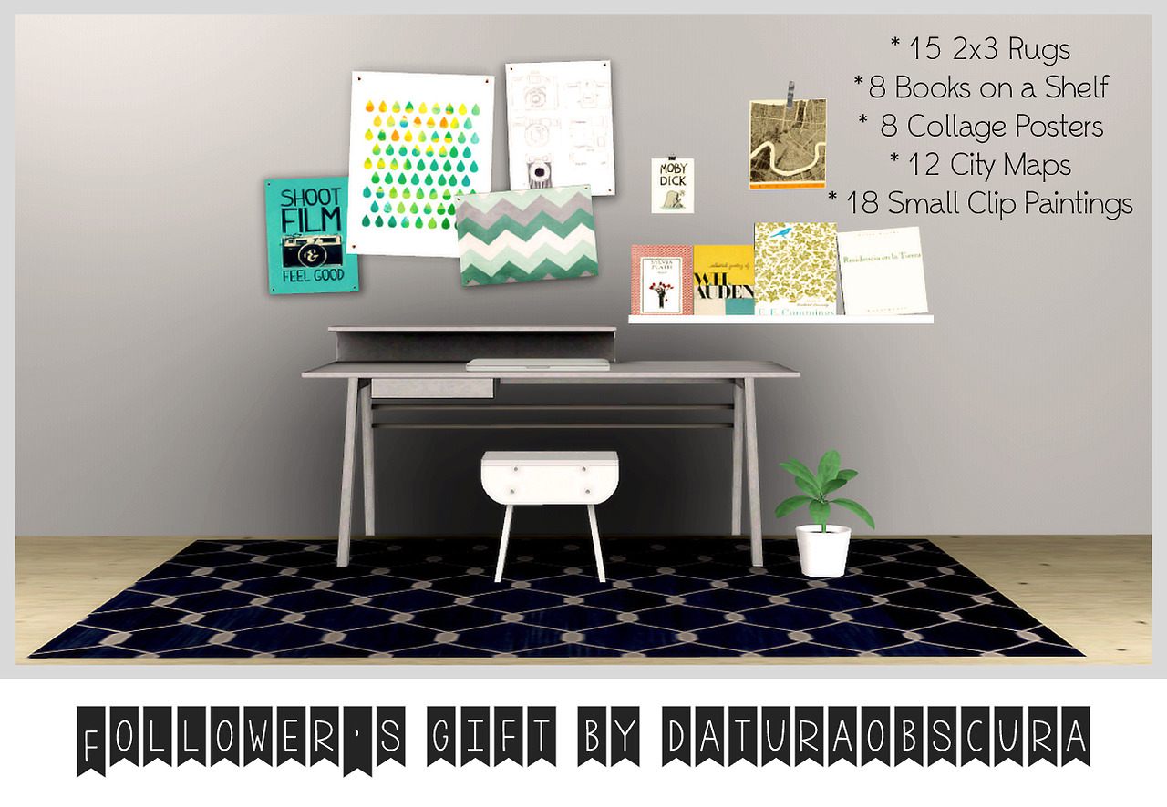 My sims 3 blog sims 3 collage wall decor by michelleab - My Sims 3 Blog Rugs 8 Books On A Shelf Posters Maps
