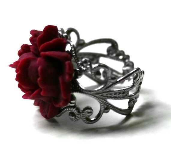 market rose etsy pinup statement rings ring adjustable red vintage resin il large style flower