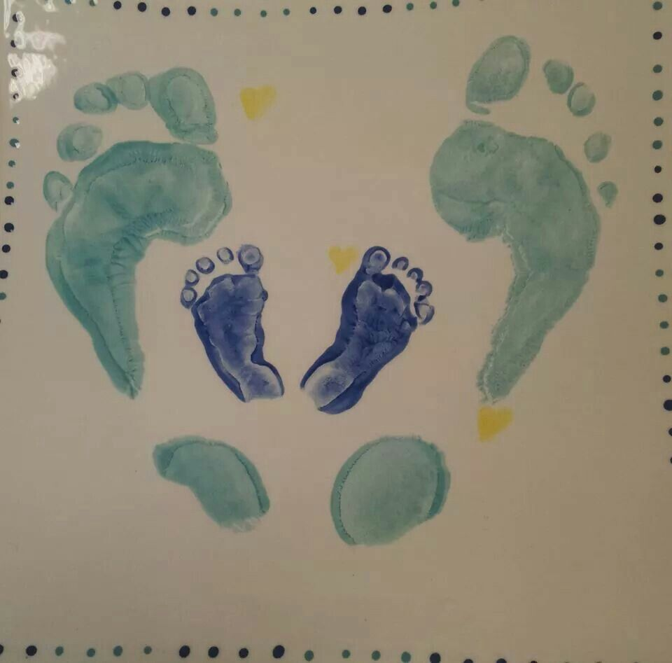 Mum and baby prints on the same plate. A gorgeous way to capture such a special moment in time.