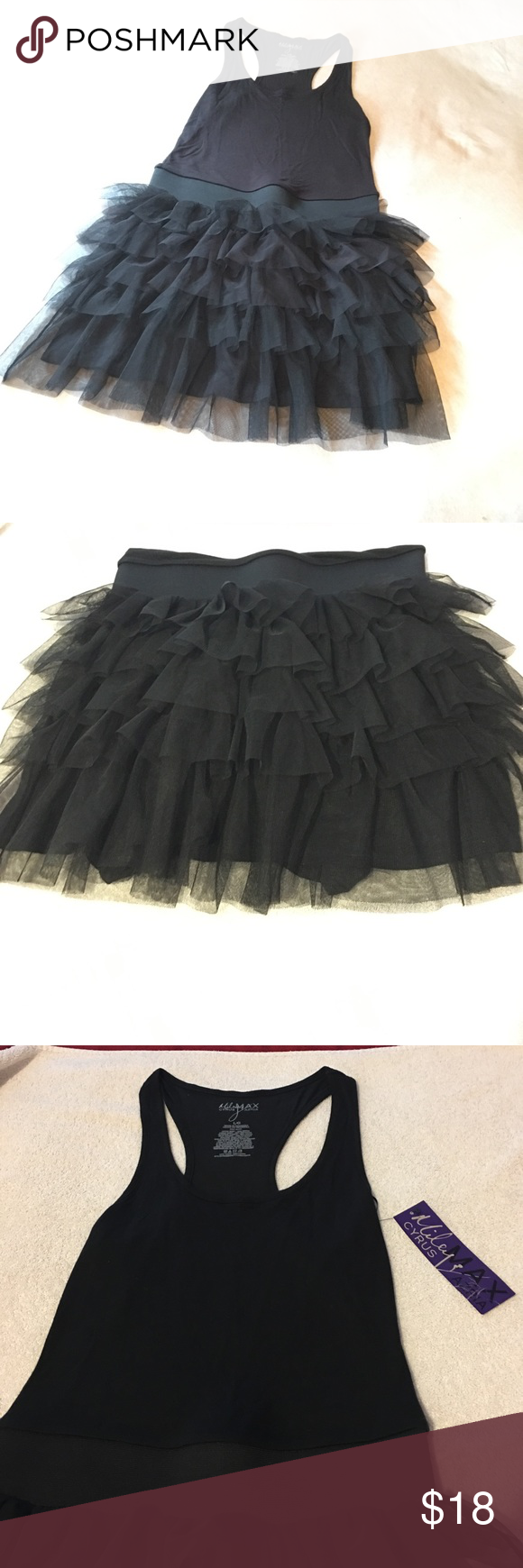 NWT Miley Cyrus Ruffle Dress NWT Miley Cyrus Max Azria black Ruffle Dress, upper body 100% Rayon, lower body 100% Polyester. *If you are interested in any of my items please ask me any questions before making a purchase.  *No Trades  *Make me an offer :) Dresses