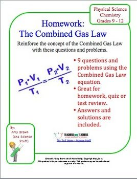 Gas Laws The Combined Gas Law Homework Chemistry Classroom Chemistry Education Science Chemistry
