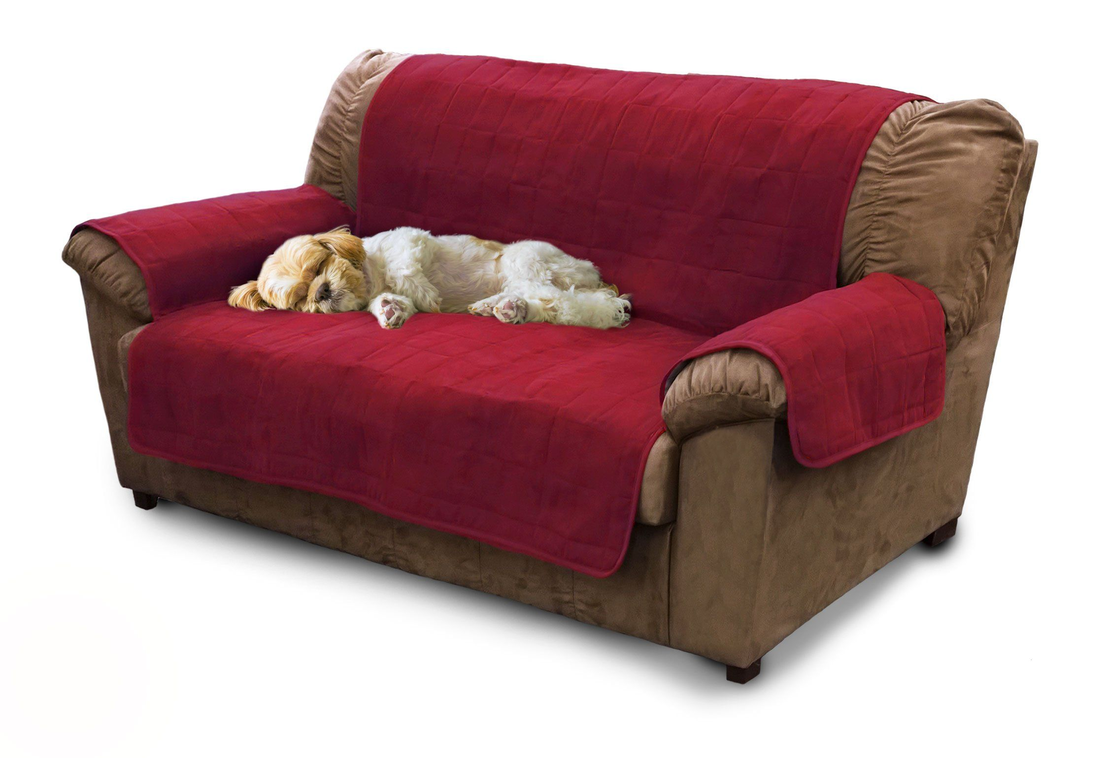 Furhaven Pet Products Home Loveseat Protector Burgundy