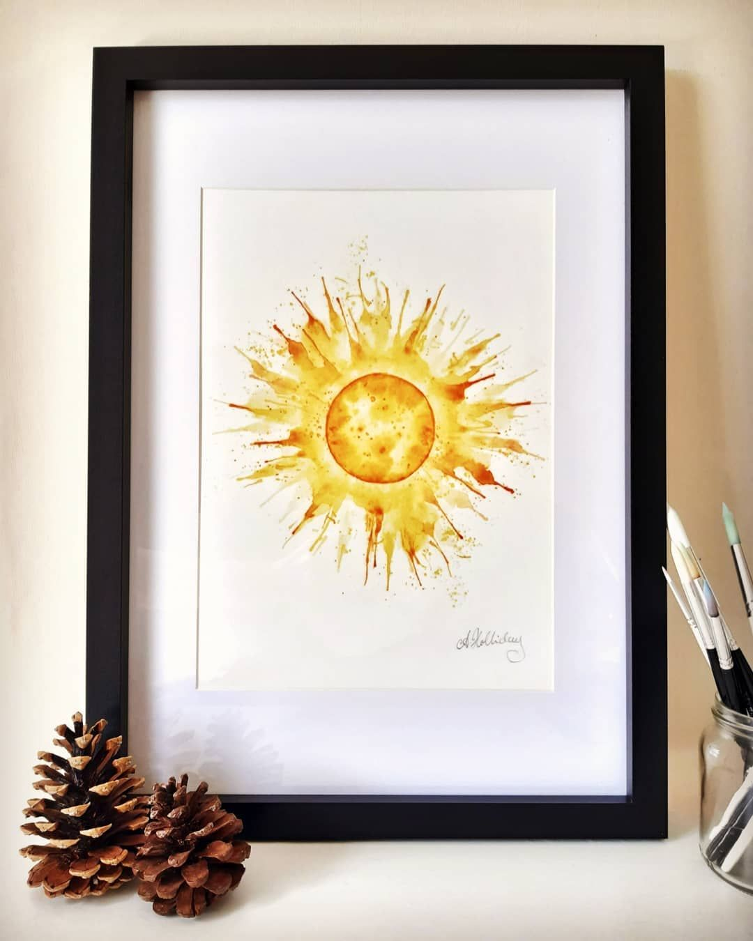Its almost the Summer Solstice and longest day ☀️ I was asked to make my bursting sun / Summer Solstice design into a print, so here it is 💛  #summersolstice #midsummer #summer #longestday #sun #pagan #paganfestival #nature #sunburst #watercolour #watercoloursun #watercolourillustration #watercolourspace #celestial #planets #splash #etsy #etsyshop #shopsmall #standwithsmall #smallbusiness #gicleeprint #artprint #sunart #sunprint