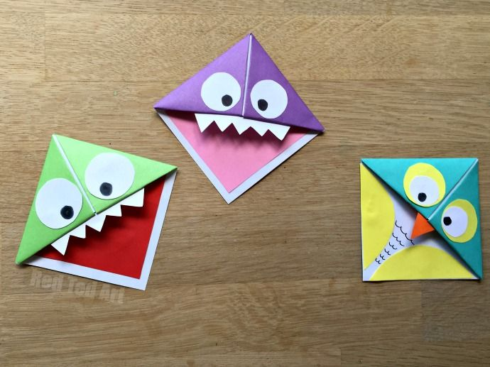 Fun Easy Origami Corner Bookmarks Turn Them Into Monsters Owls And Wherever Your Imagination Takes You A Great Little Gift For Book Lovers On Fathers