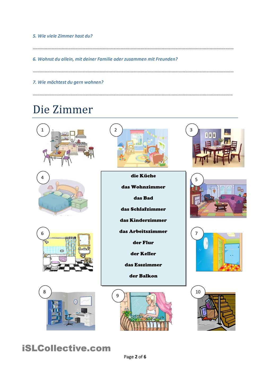 Wohnen, Zimmer, Möbel, zusammengesetzte Nomen | Arbeitsblätter, Mein ...