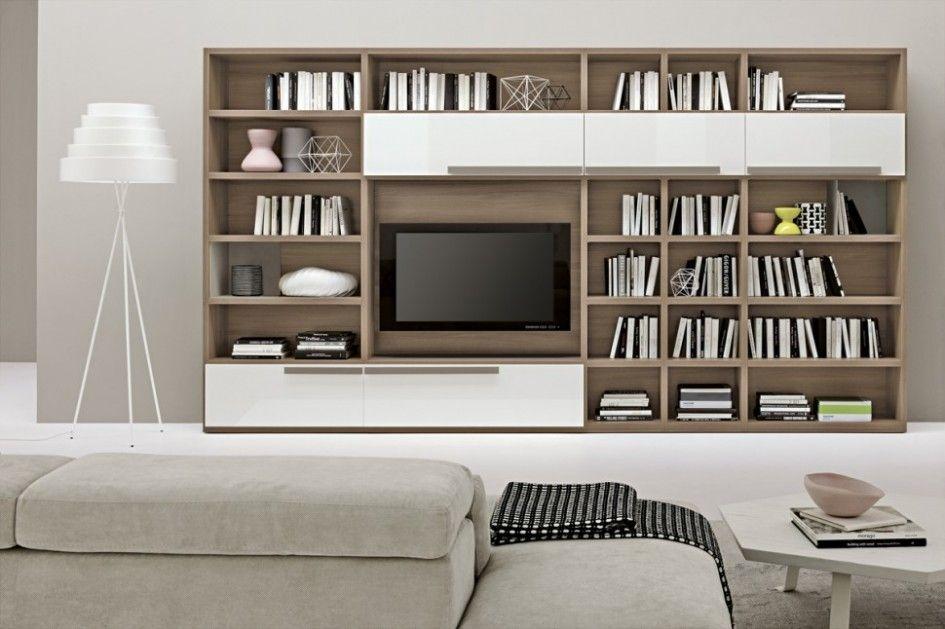Living Room, Contemporary Bookshelves Design Idea Also Simple Living