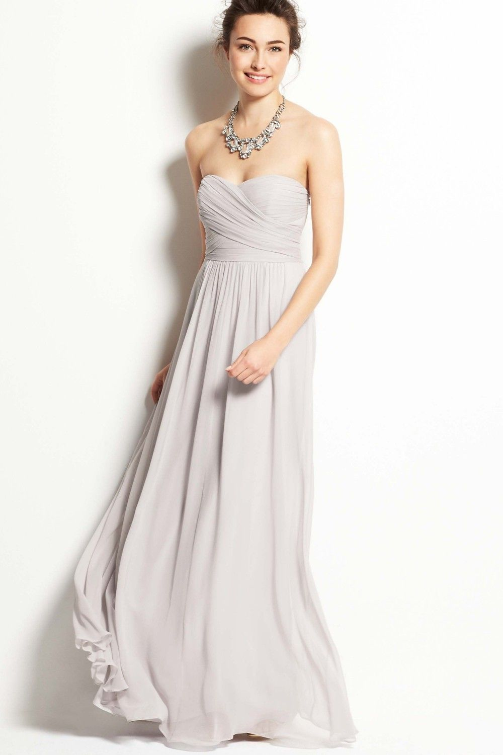 The elegant strapless sweetheart light grey chiffon floor length the elegant strapless sweetheart light grey chiffon floor length bridesmaid dress prom dress ombrellifo Choice Image