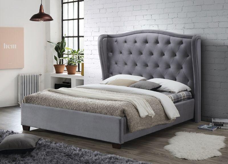 Lauren Grey Fabric Bed Upholstered Platform Bed Ottoman Bed