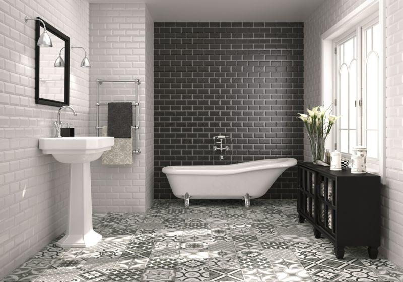 Fußboden Fliesen Schwarz Weiß ~ Badezimmer fliesen muster fussboden idee monochrom schwarz