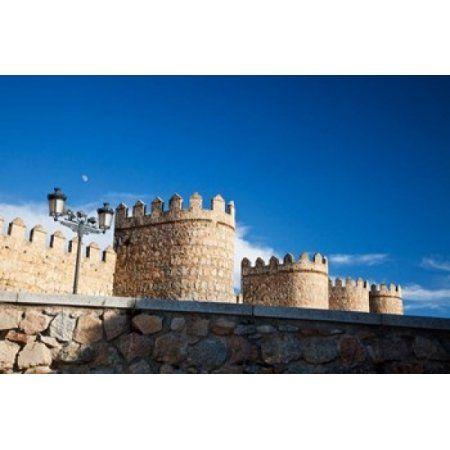 Spain Castilla y Leon Scenic Medieval City Walls of Avila Canvas Art - Julie Eggers DanitaDelimont (19 x 12)