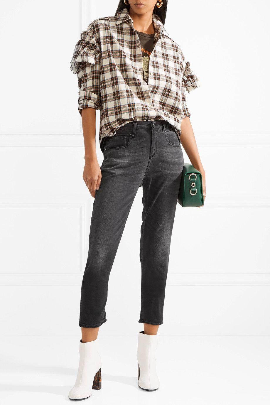 Boy Slouch Cropped Boyfriend Jeans - Black R13 8bYK5w