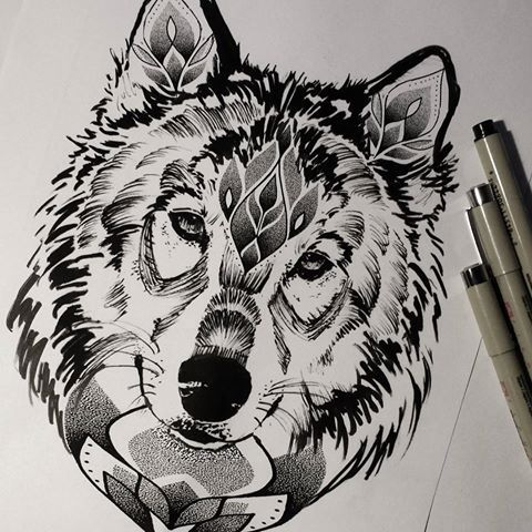 c2177ada1abbd Sad black-and-white wolf with floral pattern tattoo design ...