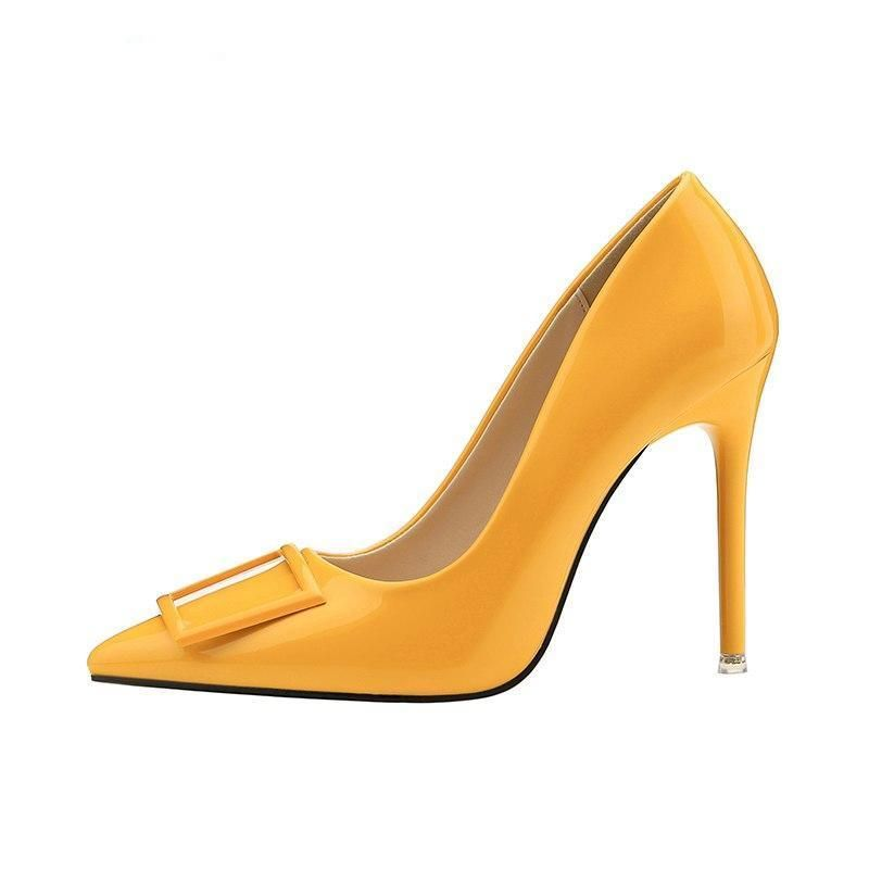 5df480d58a1f Women 10 cm Extreme Fetish High Heels Scarpin Shoes Female Party Wedding  Yellow Lady Heels Leather Tacones Nightclub Pumps  womens  womensclothing  ...