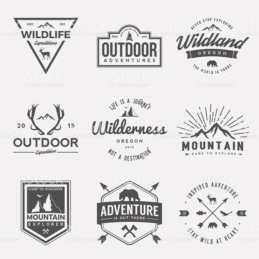 vector set of wilderness and nature exploration vintage