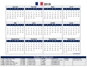 2018 french calendar with holidays printable