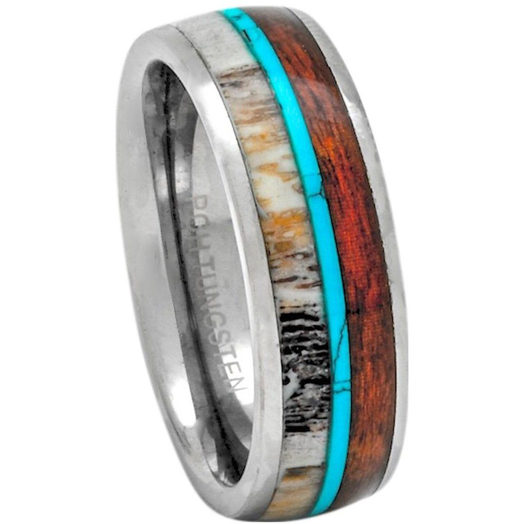 Titanium Ring Hawaiian Koa Wood and Turquoise Wedding Band or Gift 8mm