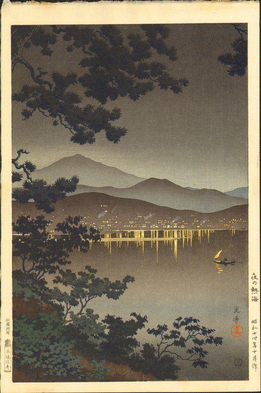 Tsuchiya Koitsu Woodblock Print - Midnight Scene at Atami