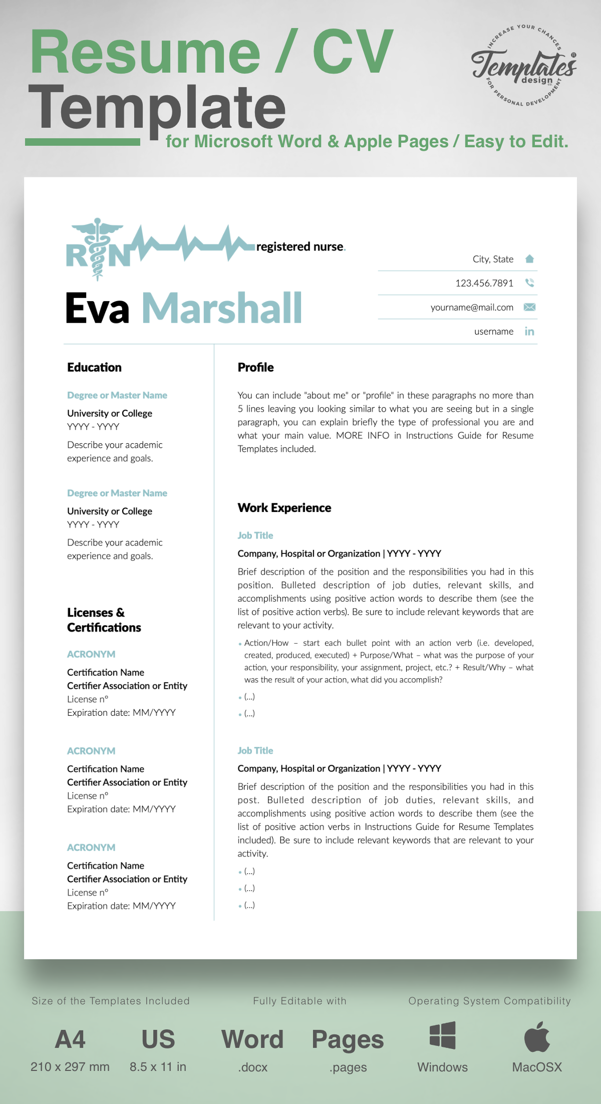 Eva Marshall Nurse Resume Cv Template For Word Pages Us Letter A4 Files 1 2 3 Page Resume Version Cover Letter References Cover Letter