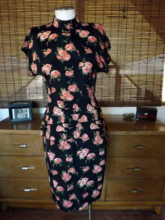 Vintage 80s does 40s Sheer Floral Peplum Wiggle by Calliopegirl, $34.00