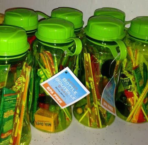 Green and glassie birthday treat water bottles party for Bottle decoration ideas kids