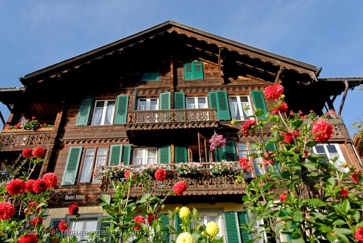 Traditional alpine wooden house white wood and green for Swiss homes