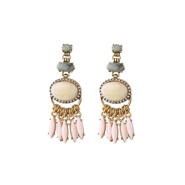 Beautiful Synthetic Stone Tassel Earrings (17 BAM) ❤ liked on Polyvore featuring jewelry, earrings, pink, pink stone earrings, graduation jewelry, prom jewelry, stone earrings and pink stone jewelry