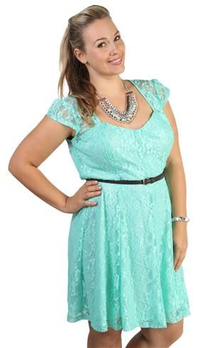 Maybe for after graduation! plus size lace belted skater dress with sweetheart shaped neckline